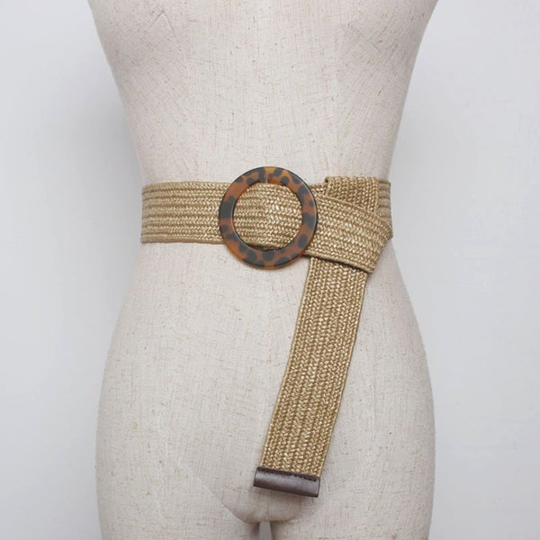 New Vintage Knitted Wax Rope Wooden Bead Waist Rope Women Smooth Buckle Belt Woman Woven Female Hand-Beaded Braided Belt