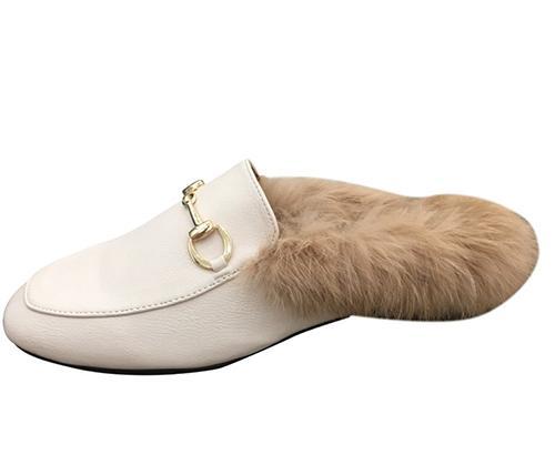2019 nouveau style hiver femmes plat fourrure doublé pantoufles chaudes en cuir décontracté fourrure de lapin mocassins chaussures bottes