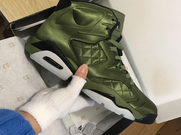 High Quality 6 Flight Jacket Pinnacle Saturday Night Live Army Green Basketball Shoes Men 6s Nylon Army Green Sneakers With Box