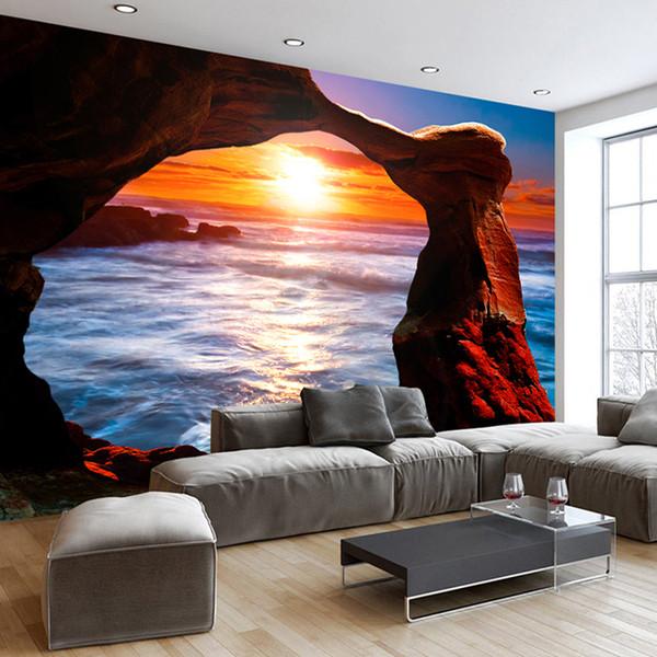 Özel Fotoğraf Duvar Kağıdı 3D Deniz Ada Taş Sütun Sunrise Manzara Duvar Duvar Boyama Oturma Odası Yatak Odası Kabartmalı Duvar Kağıdı