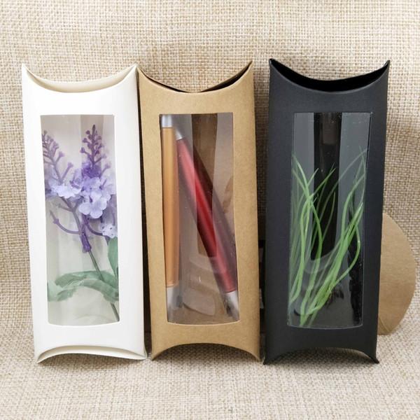 50pc 16 * 7 * 2.4cm marrón / blanco / negro caja de la ventana de la almohada de la cartulina con el pvc claro para los proucts / los regalos / los favores / la demostración del embalaje de la exhibición