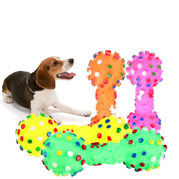 top popular Dog Toys Colorful Dotted Dumbbell Shaped Sounding Toys Squeeze Squeaky Faux Bone Pet Chew Toys For Dogs 2021