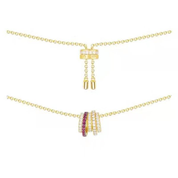 OL tendance jaune plaqué or coloré Collier Pendentif CZ pour les filles pour femmes de soirée de mariage de Nice cadeau