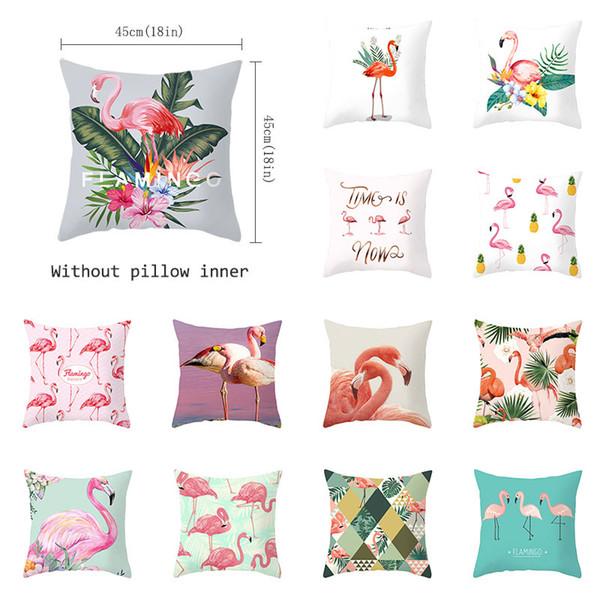 Flamingo Kissenbezug Sommer tropische Pflanzen Druck Dekorative Kissen Grüne Blätter Flamingo Dekokissen Fall für Sofa
