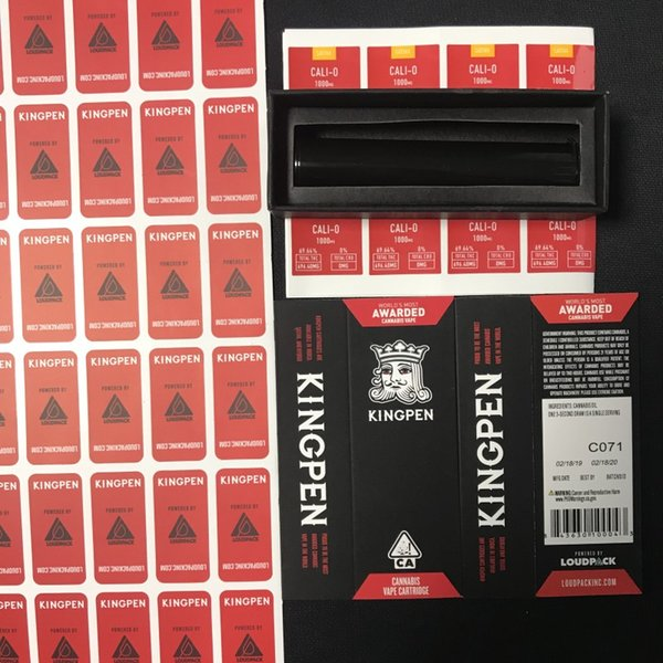 Red Flavors Kingpen Package Bags King Pen Packaging Bag Paper Box Only with Black Plastic Tube and Flavor Sticker for Vape Cartridge DHL