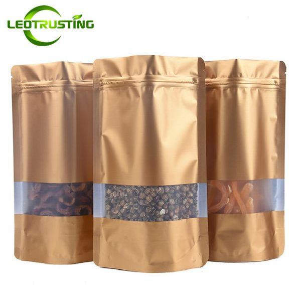 Leotrusting 100pcs/lot Stand up Matt Gold Aluminum Foil Window Ziplock Bag Gold Foil Food Powder Snack Nuts Coffee Storage Bag