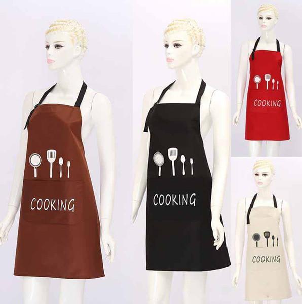 Ön Büyük Cep Su Geçirmez Yağ Geçirmez ile önlükleri Mutfak Bıçağı Çatal Baskı Önlük Pişirme Pişirme Ev Temizlik Araçları Ev Tekstili
