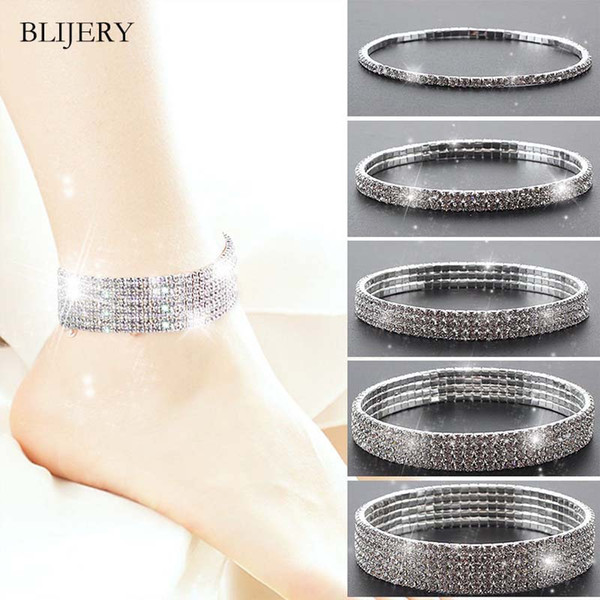 BLIJERY Gümüş Renk Kadınlar için Tam Rhinestone Elastik Halhal Kristal Ayak Bileği Bilezik Yalınayak Sandalet Femme Yaz Ayak Takı