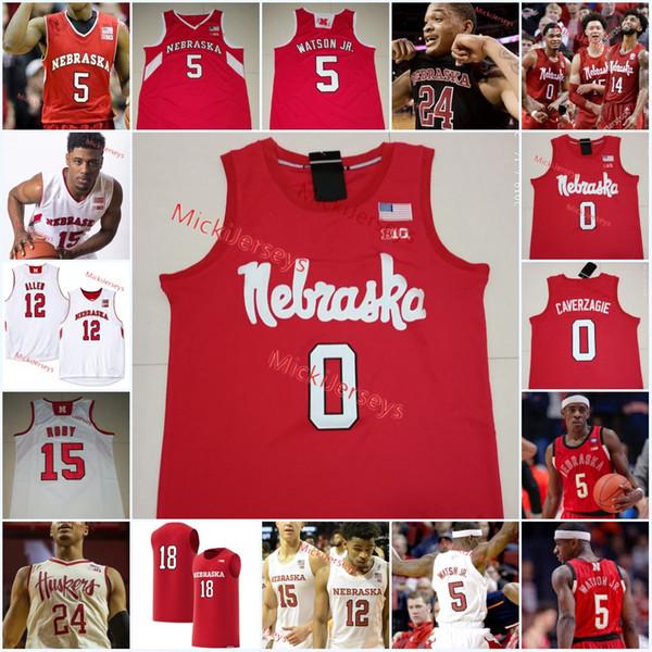 Mens Custom Nebraska Cornhuskers Basketball Jersey James Palmer Jr. Glynn Watson Jr. Thomas Allen Nana Akenten Nebraska Cornhuskers Jersey