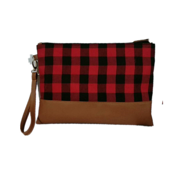 Fashion Woman Plaid Clutch Bag Lady Causal Cosmetic Bag Checked Wristlet Handbag Girl Make up Handbag LJJT483