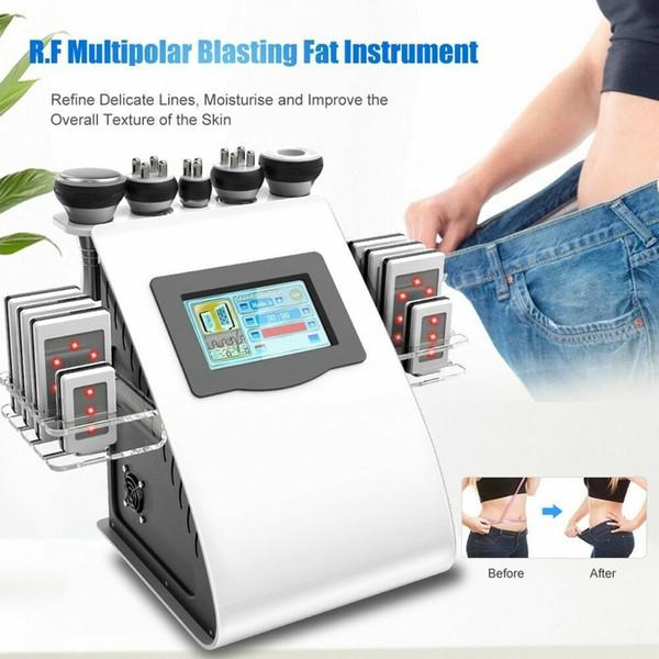 Professional 6 em 1 Diodo Lipo Laser Emagrecimento Sistema de Aperto de Pele RF Vacuum Ultrasound Cavitação Redução de Gordura Máquina de Remoção de Celulite