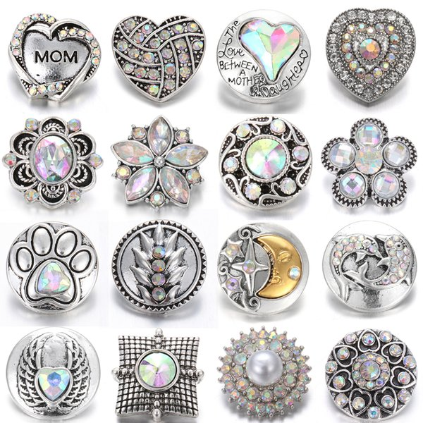 New Snap Buttons Jewelry Charms Colorful Crystal Rhinestone Flower 18mm Metal Snap Buttons fit Snap Button Necklace Bracelet