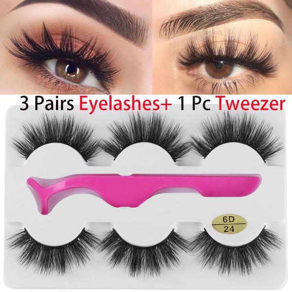 3 Pairs False Eyelashes Wispy Fluffy Thick Long Fake Eye Lashes With 1 Pc Tweezer Handmade Natural Eye Extension Beauty Tools