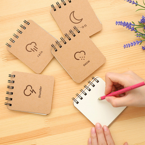 Cowhide Paper Coils Notebook Blank Notepad Book Soft Copybook Daily Memos Pad Snow Print Kraft Cover Journal Notebooks Stationery DBC DH1437