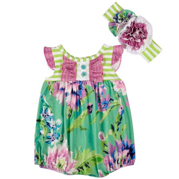 Nouvelle arrivée bébé filles barboteuse enfant fleur verte imprimé à volants Onesies avec bandeau nouveau-né filles combinaison bébé vêtements