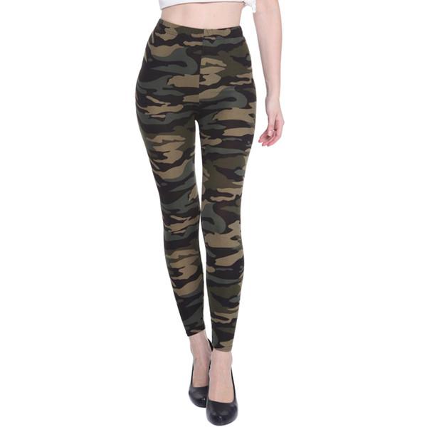 Nova Moda Primavera Outono Mulheres Leggings Elástico de Cintura Alta Camuflagem Calças de Impressão Emagrecimento Calça Casual Transporte