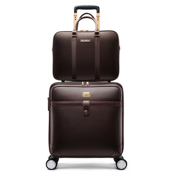2019 New Men high quality Genuine cow Leather cabin trolley suitcase Women large capacity business rolling luggage sets on wheel