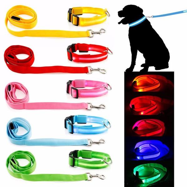 Pet Dog Collar Luminous Dogs leash Luminous Led Flashing Light Harness Nylon Safety Leash Rope pet supplies for small dog puppy c412