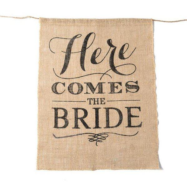 Here Comes The Bride Burlap Chair Banner For Wedding Flag Rustic Ceremony Party Direction Signs Photobooth Props 15 x 20 Inches ZC0052