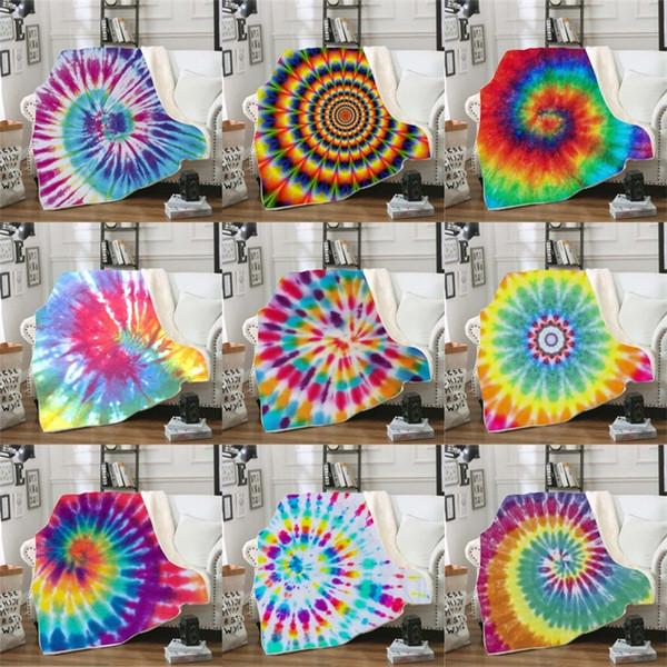 Fleur Couleur Couvertures 3D Impression Numérique Canapé Articles Ménagers Double Couche Épaississement Impression Couverture Colorée Nouvelle Arrivée 45qld L1