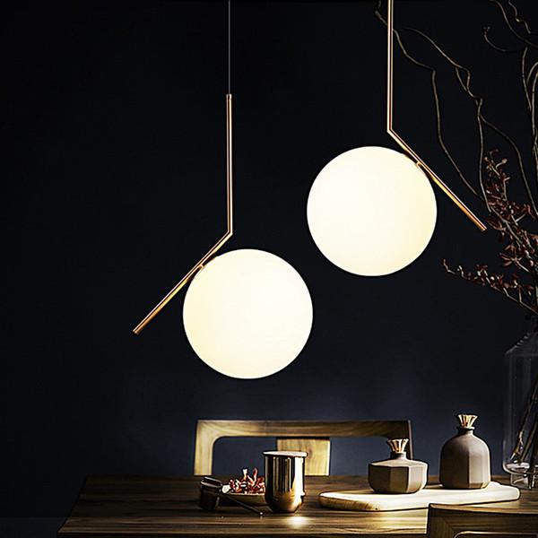 2019 Postmodern Led Pendant Light Living Room Bedroom Dining Room Metal Lamp Designer Glass Ball Shape Gold Warm White Luster