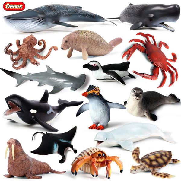 Enux Orijinal Deniz Yaşamı Hayvanlar Dünya Balina Köpekbalığı Yengeç Kaplumbağa Yunuslar Action Figure Akvaryum Okyanus Modeli Eğitim Çocuk Oyuncak Oenux Origina ...
