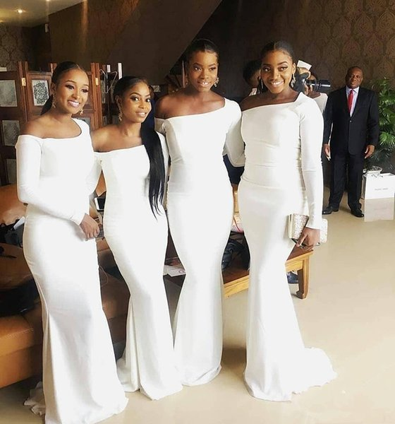 2019 White Mermaid Bridesmaid Dresses Off Shoulder Long Sleeves Floor Length Formal Maid Of Honor Dress For Wedding Party Gowns 69