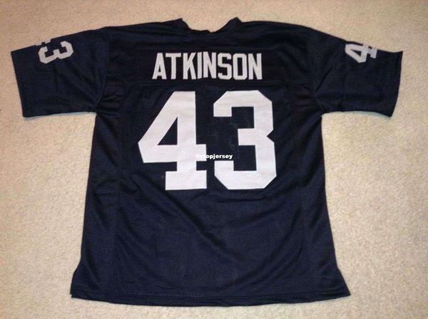 Pas cher Retro personnalisé Cousu Cousu # 43 George Atkinson Noir Maillot MITCHELL NESS Haut de gamme Maillots De Football Collège NCAA
