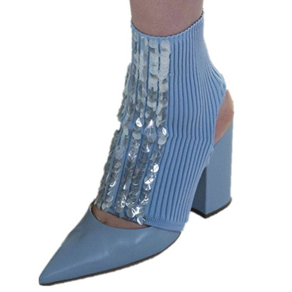 Ankle Boots Autumn High Heels Leather Catwalk Shoes Pointty Toe Chunky Heels Sock Boots Party Prom Botas Mujer Zapatos De Mujer