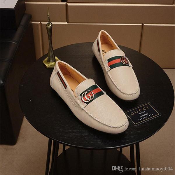 18ssMens Mocasines de cuero zapatos retro Diseñadores de la marca Flat Driving Casual Shoes Men alta calidad alpargatas marrón estilo británico IDZUI