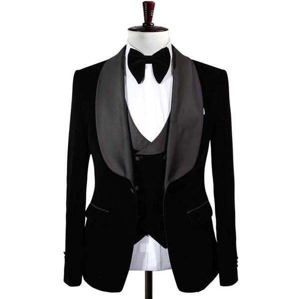 Handsome One Button Black Velvet Groom Tuxedos Shawl Lapel Men Wedding Party Groomsmen 3 pieces Suits (Jacket+Pants+Vest+Tie) K120