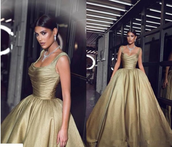 2019 Gold Shiny Evening Dresses Pageant Celebrity Gowns Ball Gown Spaghetti Straps Pleats Ruffles Long Party Vestidos Arabic