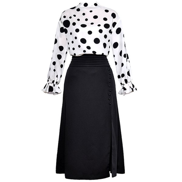 Red RoosaRosee Women's Black Dot Print Flare Sleeve White Blouse + Sexy Side Placket Sheath Skirt Office Lady 2 Piece Set Suit