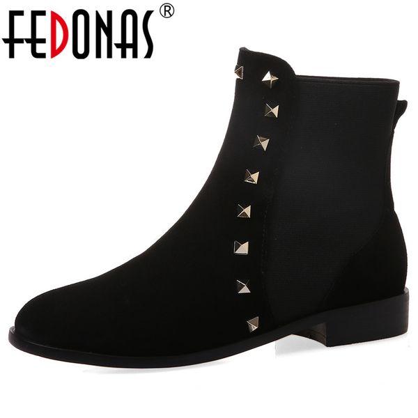 FEDONAS Yeni Perçinler İnek Süet Kadınlar Bilek Boots Kış Sıcak Kısa Çizme Parti Gece Kulübü Ayakkabı Kadın Büyük Boy Yüksek Topuklar