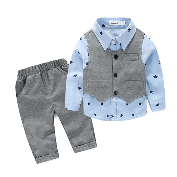 Baby Boy Clothes 2019 Autumn Kids Clothes Sets Vest+Shirt+Pants Suit Clothing Set Star Printed Clothes Newborn Formal Suits
