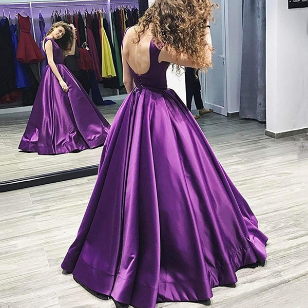 Scoop Long Prom Dresses Backless Floor Length Ball Gown Sleeveless Lace Up Satin Evening Formal Party Dress Vestido De Fiesta