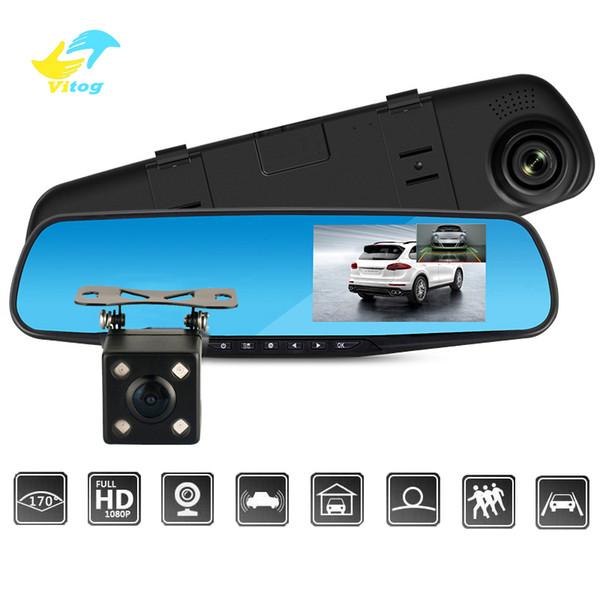 Full HD 1080 P Câmera Do Carro Dvr Auto 4.3 Polegada Espelho Retrovisor Gravador de Vídeo Digital Visão Noturna Filmadora de Lente Dupla