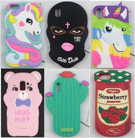 3D Cute Cartoon Horse Bear strawberry Cactus Soft Silicone Cover Case for iPhone XS Max XR X 7 8 6S Plus