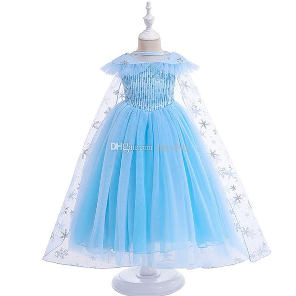 kids designer clothes girls Snowflake sequin dress children Tutu lace Tulle princess dresses cartoon Costumes with cape baby Clothing C6879