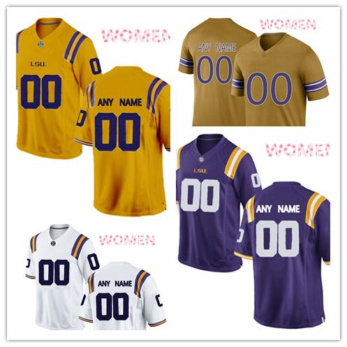 NCAA LSU Tigers jerseys Turner Simmers 69 Michael Smith 75 Damien Lewis 68 jersey MEN WOMEN YOUTH yellow purple White gold football jersey