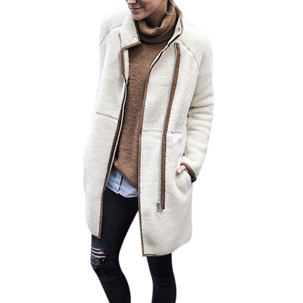 Fashion Faux Lambswool Zipper Up Oversized Coat Winter Hairly Jacket Women Autumn Stand Collar Warm Outerwear