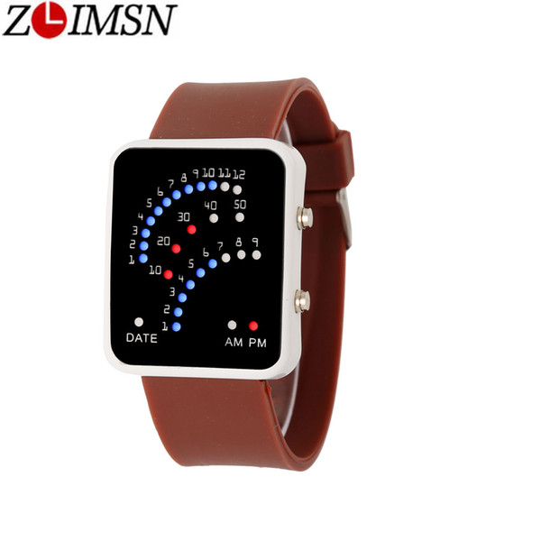 ZLIMSN Creative Fan-shaped Lighting Men Women Square LED Watch Silicone Electronic Watch Fashion Watches Suitable for Student