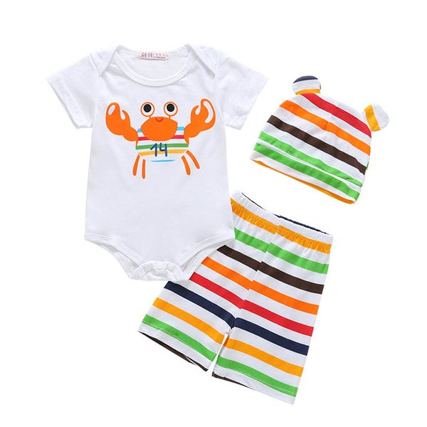 Ins Cartoon Summer Baby Suit Infant Outfits Boys Clothing Sets baby romper+pants+hat Toddler sets designer baby clothes Best Suits A4404
