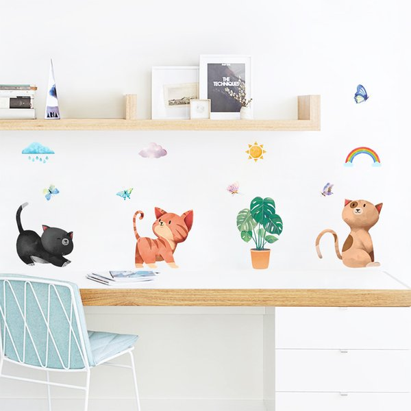 Cartoon Kitty Wall Decor Wacky Cats Wall Stickers for Kids Room Bedroom Home Decor Animals Poster Mural Wallpaper Wall Decals