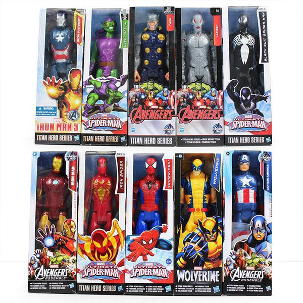 30cm Super Heros The Avengers Iron Man Spider Man Captain American Wolverine PVC Toy Action Figure Model With Box Free Shipping