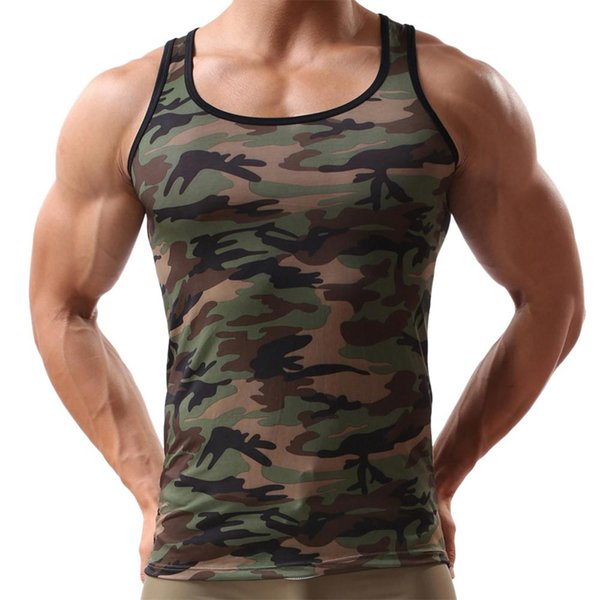 Mens tank tops Military style tight-fitting military posture mens camouflage vest T-shirt