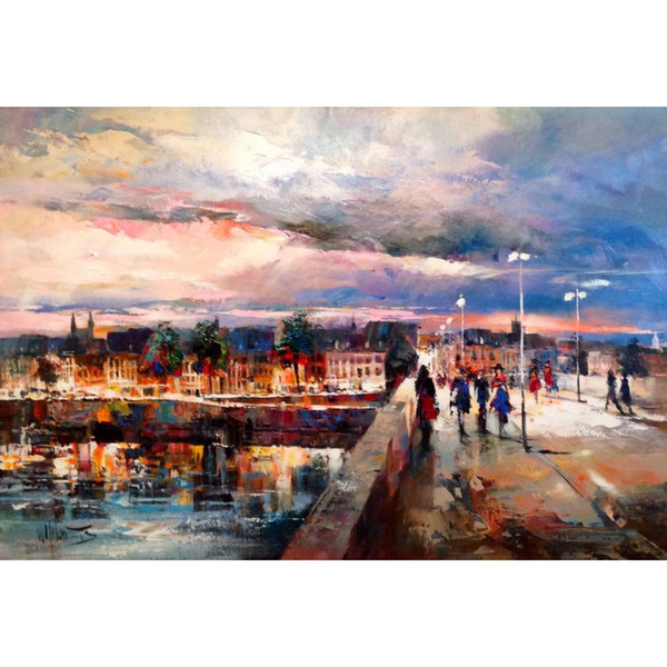 Hand painted beautiful oil paintings View of the bridge on Maastricht city scence artwork for living room decor