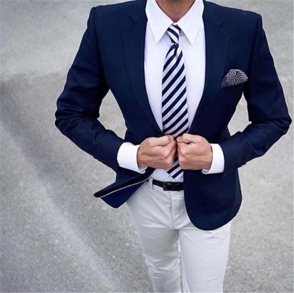 Barato E Fino Um Botão Padrinhos Notch Lapela Noivo Smoking Homens Ternos Casamento / Baile / Jantar Melhor Homem Blazer (Jaqueta + calça + gravata) A534