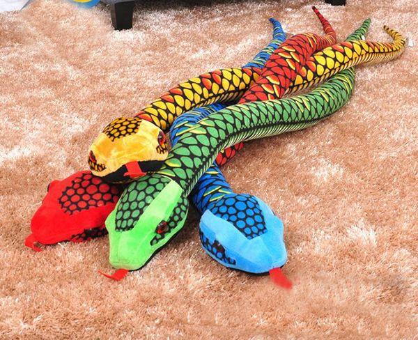 Acheter Réaliste Animaux En Peluche Géant Boa Constrictor Serpent En Peluche Poupées Rouge Jaune Vert Bleu 170cm 5 5 Pieds De Long De 16 09 Du
