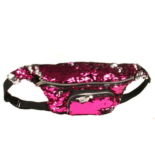 Las mujeres del brillo de las lentejuelas cintura empaqueta ajustable pecho bolso unisex de la cintura del recorrido bolsos de las señoras del vientre paquete pequeña bolsa de teléfono